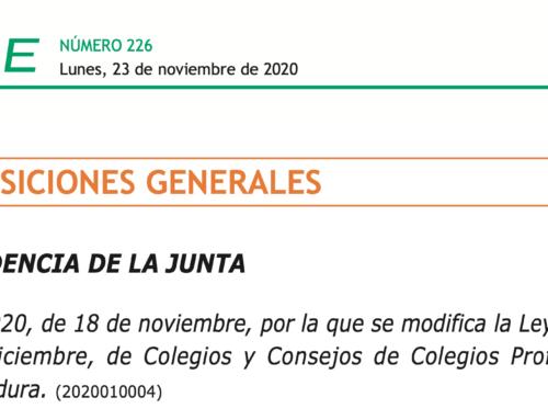 Modificación de la Ley de Colegios y Consejos de Colegios Profesionales de Extremadura